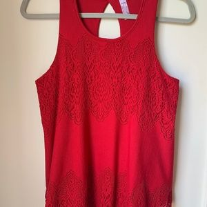 Red Lace Tank with Keyhole Back